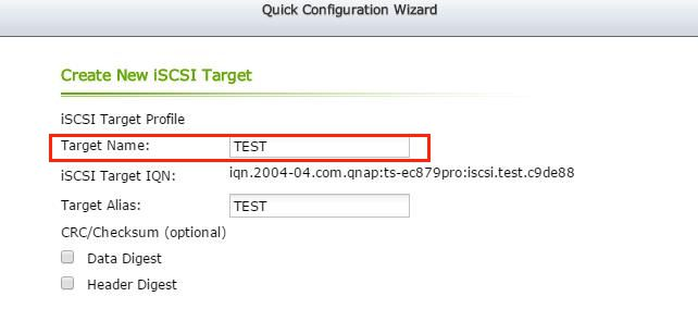 Enter the information to create the iSCSI target