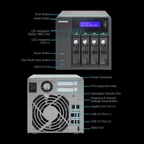 QNAP TVS-471-PT-4G-US - 4-Bay Intel G3250 3 2GHz Dual Core, 4GB RAM