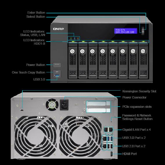 QNAP NAS Enclosure 8-BAYS (TVS-871-I3-4G) TVS871I34G