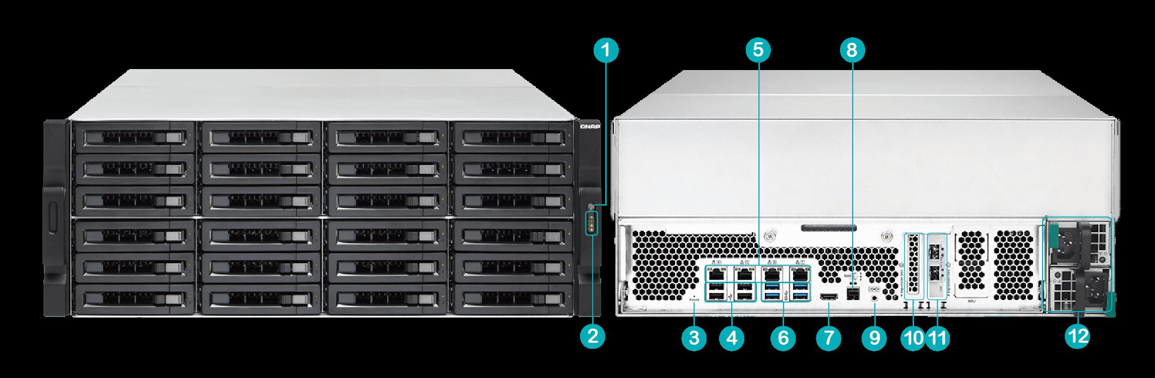 QNAP TVS-EC2480U-SAS-RP-16G-R2 24-Bay Rackmount NAS Diskless – SimplyNAS